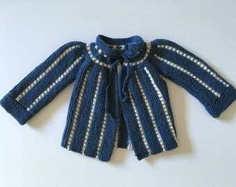 Vintage Baby Girl 60's Knit Sweater, Blue, White, Striped, Acrylic (0-3 months)