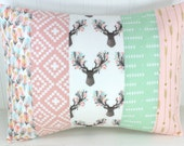 Woodland Pillow Cover Cushion Cover 12 x 16 Baby Girl Decorative Pillows Throw Nursery Decor Home Decor Blush Pink Mint Deer Gold Arrow Boho