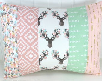 Nursery Pillow Cover, Pillow Cover, Nursery Decor, 12 x 16 Inch, Blush Pink, Deer, Bucks, Shabby Chic, Buck Heads, Gold, Tribal, Arrows,Boho
