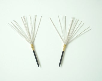 Pair Of Silvery Kanzashi Hair Accessories From Japan