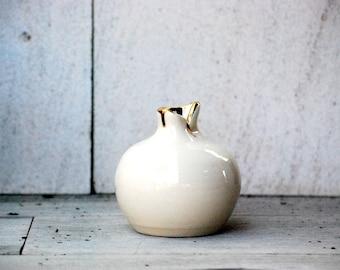 ceramic vase  gold vase handmade ceramic bud  vase wheel thrown pottery