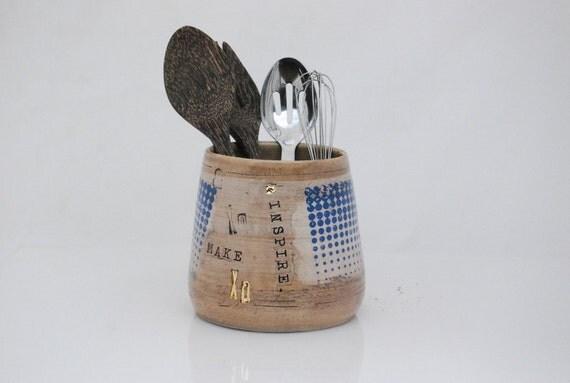 Unique utensil holder ceramic utensil holder kitchen - Unique kitchen utensil holder ...
