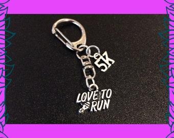 5 K run gift, gift for runner, run race prize, love to run charm keychain, 5 k run charm key ring, fitness gift UK