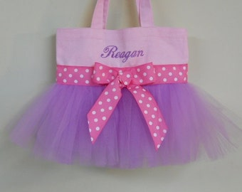 Ballet bag, dance bag  Pink Tote Bag with Purple Tulle and Pink Polka Dot Ribbon MINI Embroidered Tutu Tote Bag MTB40 BP