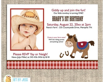 Western Horse Red Checkered Photo Birthday Invitation / Printed or Printable