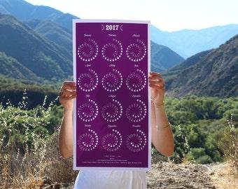 2017 MOON CALENDAR in Amethyst - Silkscreen Print