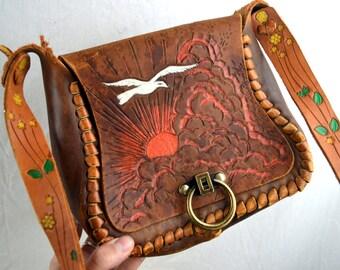 Vintage Vintage Tooled Leather Mexico Sunset Floral Purse Bag