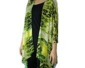 Kimono cardigan Yellow green- Chiffon ruana- Gorgeous Italian silky chiffon