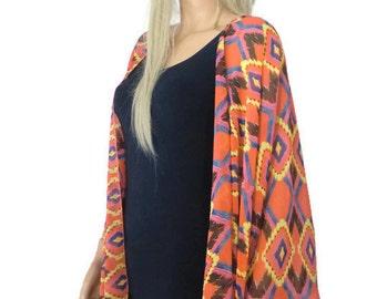 Tribal print Kimono/ Kimono cardigan- Coral red,yellow,blue etc.-Lagenlook kimono chiffon kimono-ruana-  summer collection-Women Kimonos