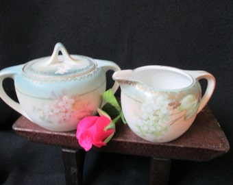 RS Tillowitz Silesia Cream Sugar, Handpainted German Pottery, Antique German Pottery, Vintage Cream and Sugar Set, Art Deco Serving