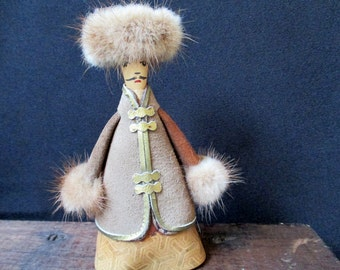 Vintage Russian Figure, Folk Art Man Figure, Handcrafted Figure in Historic Costume, Leather and Fur
