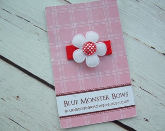 ONE DOLLAR CLIP White Flower with Red Gingham Glitter Center Baby Snap Clip No Slip