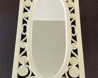 Syrocco Wall Mirror In White Frame, Faux Wicker, 1970s, White Molded Plastic, Made In USA, Wall Hanging, Focal Point, Retro, Gift