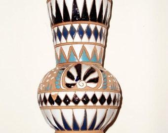 VINTAGE VASE RHODES,Greece, textured ceramic Dakas studio,deer,shell, geometric,white,sand,aqua,black,navy