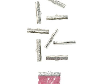 50pcs.   30mm  ( 1 3/16 inch ) Platinum Silver Ribbon Clamp End Crimps - Artisan Series
