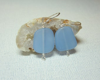 Pale Blue Beachglass Earrings, Beach Glass Earrings, Blue Earrings