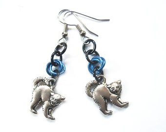 Blue cat earrings, Halloween cat jewelry, Silver Halloween cats, Kitty earrings, Hissing cats
