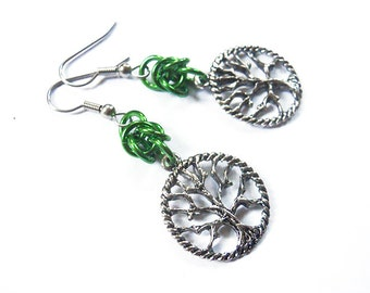 Tree of life earrings, Green chainmaille earrings, Gothic tree jewelry