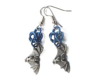 Blue bat earrings, Gothic bat jewelry, Dark gray flying bat earrings