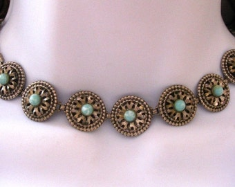SALE Vintage Turquoise Choker Necklace