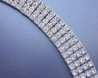 Paste Rhinestone Vintage Link Bracelet Bridal Jewelry