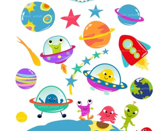 ON SALE outer space clip art - UFO clip art, kids space clip art, Alien clip art, Planet clip art, Rocket clip art