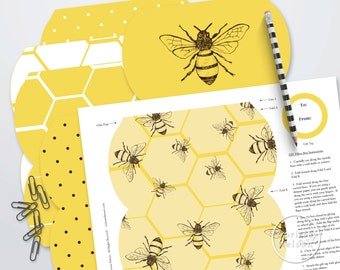 Beekeeper's Product Packaging - 6 Honey Bee Printable Pillow Boxes