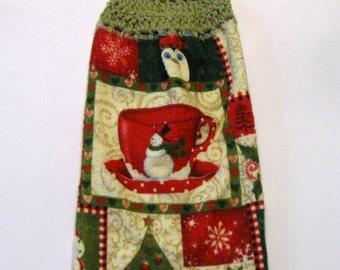 Kitchen Hanging Towel, Penquins Snowman, Kitchen supplies, Hostess Gift, Handmade by NormasTreasures