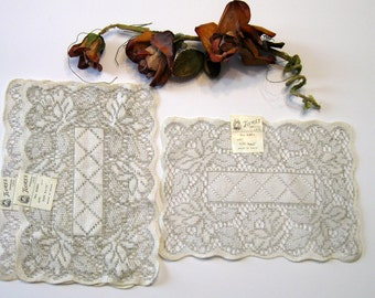 Flores Spanish Lace, Beige and Creamy White, Set of 3, Cutter Fabric, Cottage Chic, Made in Spain
