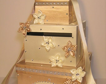 Wedding  Card Box Ivory and Champagne Gift Card Box  Money Box Holder-Customize your color