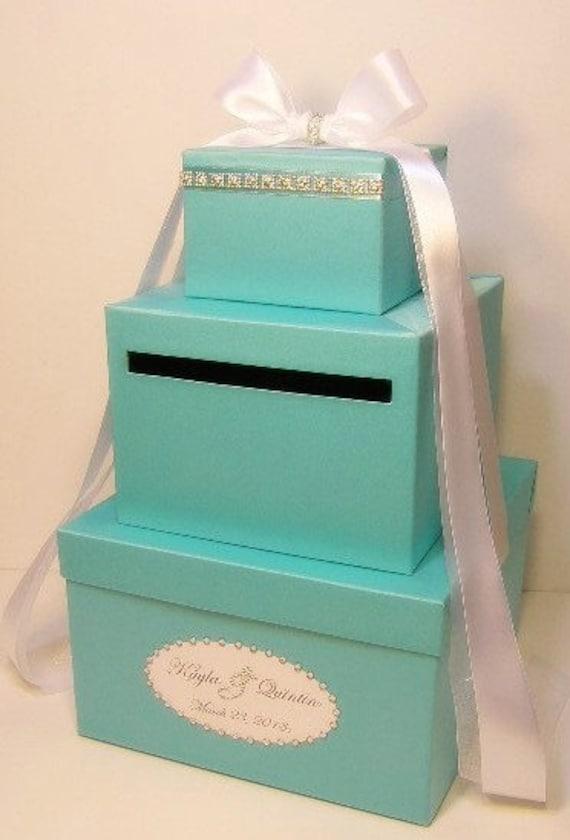3 Tier Wedding Gift Box : Wedding Card Box Blue 3 tier Gift Card Box Money Box Holder--Customize ...