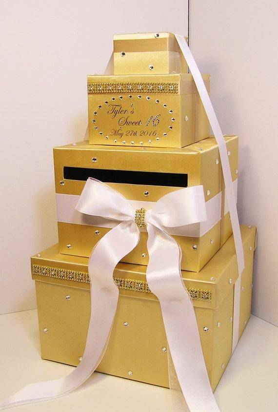 Quincea 241 Era Sweet 16 Birthday Wedding Card Box Gold And