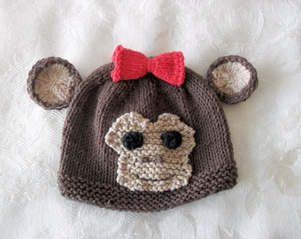Baby Hat  Knitting Knit baby Beanie knitted baby hats Knitted Baby Monkey Hat Knitted Baby Beanie Animal Baby Hat Monkey Baby Hat