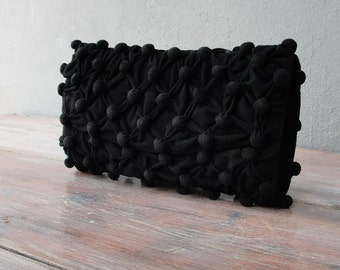 Black Honeycomb Purse - Bubble Smocked Clutch with Vintage Chain