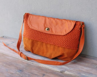 Orange Knitted Leather Messenger Crossbody Purse