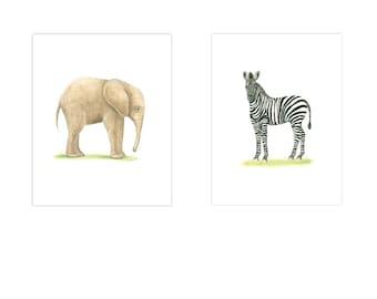ANIMAL PRINTS 2 Print Set  baby Boy Nursery Safari Nursery Prints  Nursery Art Baby Girl nursery Elephant Zebra Gender Neutral nursery Art