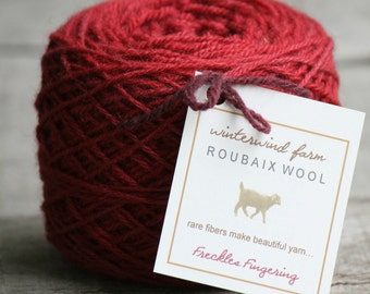 "Yarn Hand Dyed - Roubaix Wool ""Freckles Fingering""  3-ply CVM/Kid Mohair Valentine red"