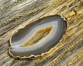 Valentine SALE - Geode Necklace, Geode Pendant, Geode Slice Necklace, Geode Slice Pendant, Geode Gold Necklace, Geode Gold Pendant, 14k G...