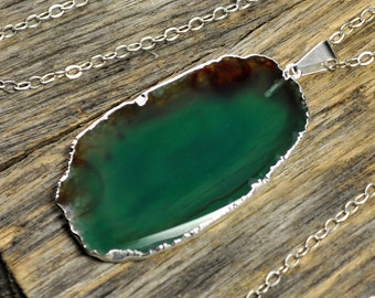 Agate Necklace, Green Agate Necklace, Green Agate Pendant, Agate Jewelry, Silver Necklace, Slice Agate, Agate Stone, Sterling Silver Chain