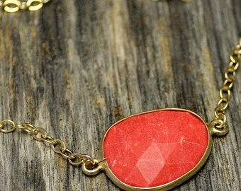 Valentine SALE - Coral Bezel Gold Necklace