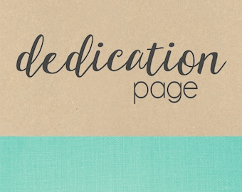DEDICATION page// baby book, baby gift, add on page, baby keepsake