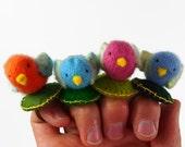 bird ring, stuffed toy ring, waldorf jewellery, pincushion ring, toy bird,