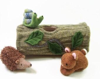waldorf toy, stuffed toy, toy animal home, eco friendly toy,