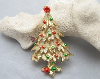 Small Vintage Christmas Tree Brooch