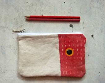 red hand painted pencils pouch handmade in cotton - zippered purse
