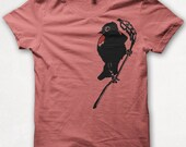 Womens Tshirt, Bird Shirt, Graphic Tee, Redwing Blackbird, Screenprinted - Coral