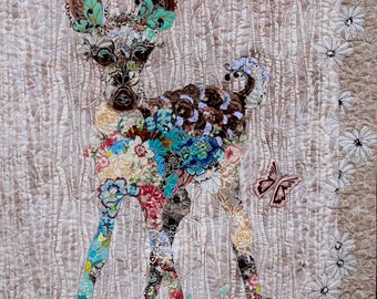 MarveLes PAPER Collage Quilt Pattern JUNE BABY Bambi Fawn Nature Baby Deer Forest Western Pink Turquoise Brown Beige Tan