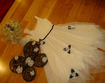 Ice Queen fairy princess white floaty dress black wings headband women's sz S Halloween Costume