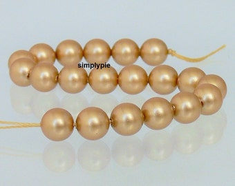 Vintage Gold Swarovski Pearl Crystal Beads 6mm Round 20