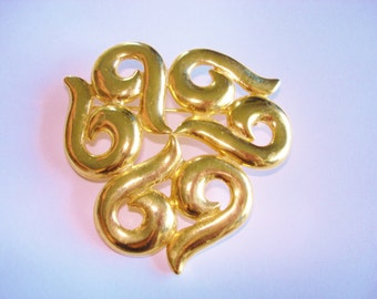 Trifari Jewelry Abstract Brooch Gold Tone